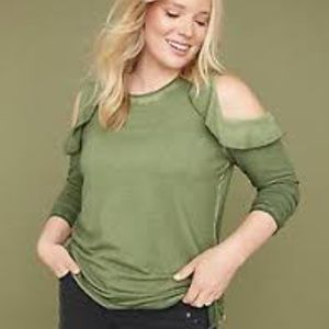 Lane Bryant Ruffle-Cold Shoulder Hi Lo sweatshirt